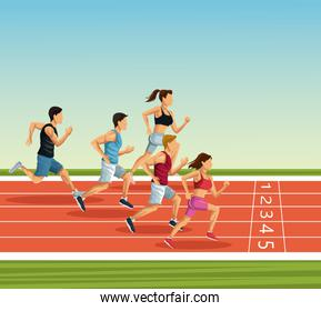 People on running track
