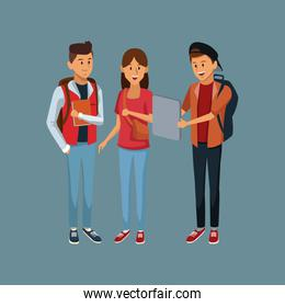 Young students cartoon