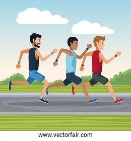 People running outside