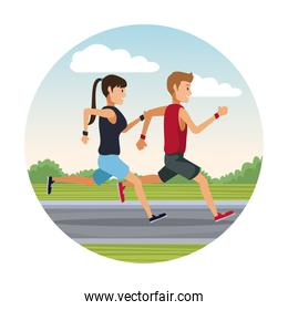 couple running outside round icon