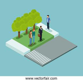 Isometric people in park