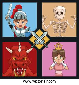 Videogames characters cartoons