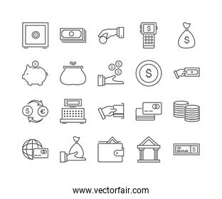 Set of 20 business thin line icons