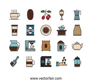 Coffe and tea beverage icon pack