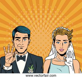 Bride and groom pop art cartoon Internet Security, baniking online