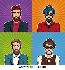 Hipsters mens with accesories