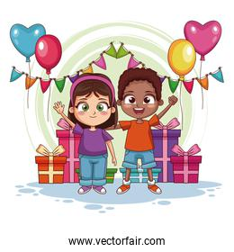 Boy and girl on birthday party