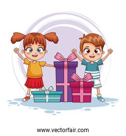 Boy and girl with birthday gifts