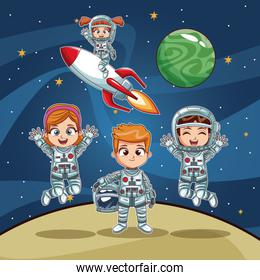 Astronauts kids on space cartoon