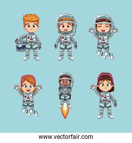 Cute kids astronauts cartoon