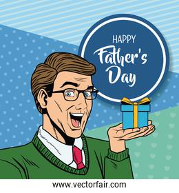 Happy fathers day pop art card