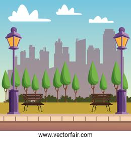 Park with cityscape