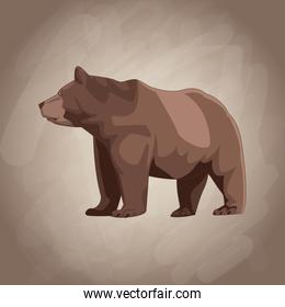 Bear drawing over brown background