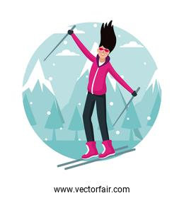 Woman with skis