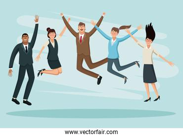 Happy business people jumping