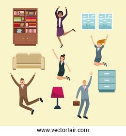 Business people happy and office elements
