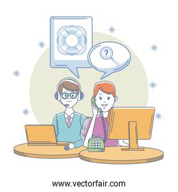 Call center office workplace