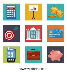 Set of money and bank icons
