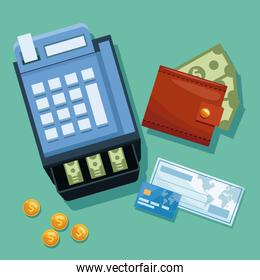 Cash register with check and credit card