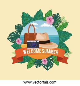 Welcome summer in flowers frame with beach