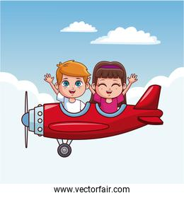 Cute kids flying in airplane over the sky