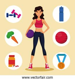 Fitness woman with sport symbols