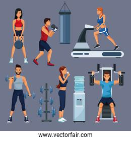 Set of people and gym equipment