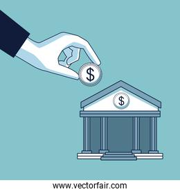 hand depositing coin in bank