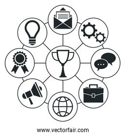 Set of social media and network icons