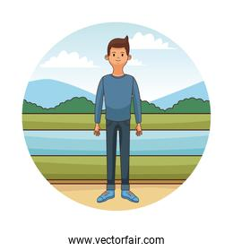 Young man cartoon in round icon
