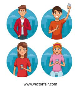 Set of youngs with smartphones