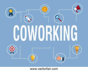Coworking banner with icons