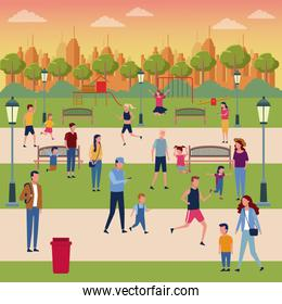 Families in park