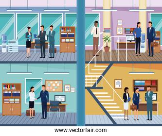 Set of Business people in office