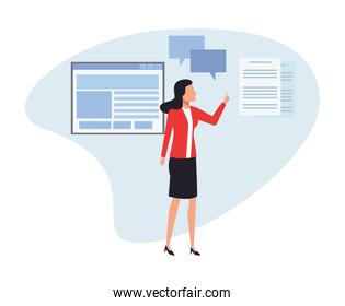 Business person presenting cartoon