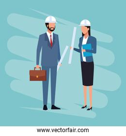 Architect and engineer Job and workers