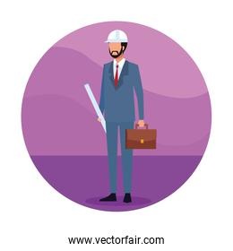Engineer with plans Job worker