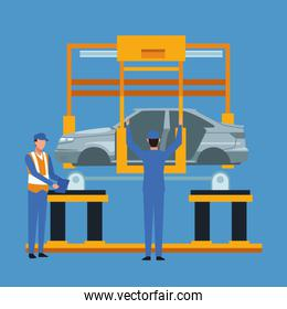 Worker on car factory
