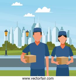 Couriers holding box