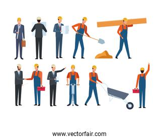 Construction set worker and architect