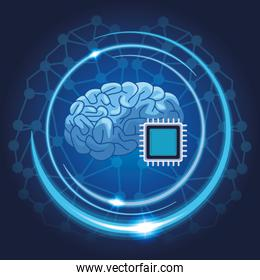 brain with microchip