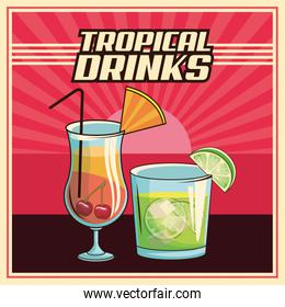 tropical cocktail poster