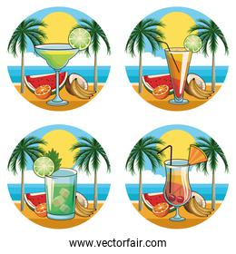 tropical cocktail drinks icon set
