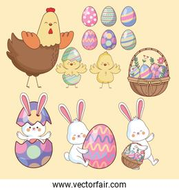 Easter day animals and eggs