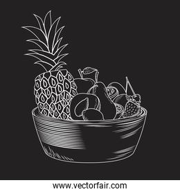 Tropical fruits in bowl
