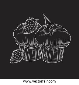 Cupcakes with strawberries and cherry