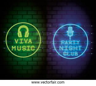 Disco party neon lights