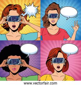 Women with virtual reality glasses pop art characters