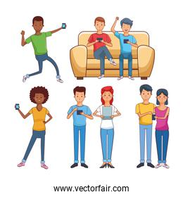 teenagers with technology over white