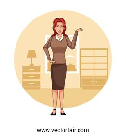 Executive businesswoman in office